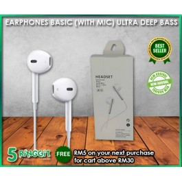 Earphone Ultra Deep Base with Microphone - 5Ringgit.com.my
