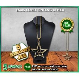 Emas Korea Bintang Di Hati ❤Korea Gold Necklace❤
