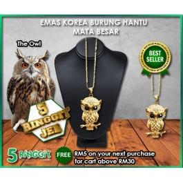 Emas Korea Burung Hantu Mata Besar ❤Korea Gold Necklace❤